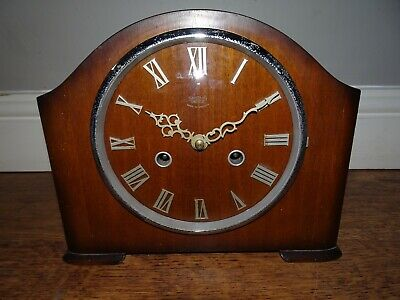 Antique Smiths Enfield Oak Mantel Clock (Chime Key Pendulum Time Roman Numerals)