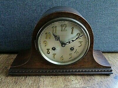 Antique German Franz Hermle Technik Oak Napoleon's Hat Chiming Mantel Clock
