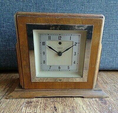 Antique 1930's/1940's Oak Cased Mark V Temco Electric Mantel Clock (Time Plug)