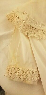 """ANTIQUE HAND EMBROIDERED LACE COLLAR BABY OR DOLL COAT 17 1/2"""" L bottom 18"""" w"""