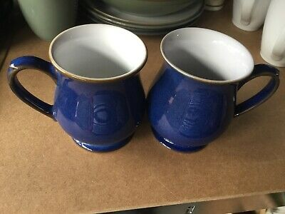 Denby Imperial Blue Craftsmans Mugs X 2 Good Condition