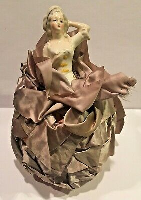 ANTIQUE 1920s PORCELAIN PINCUSHION HALF DOLL VICTORIAN STYLE #4344 GERMANY