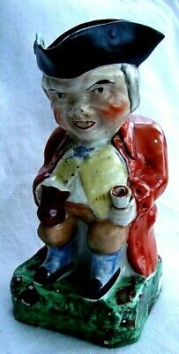 Antique Staffordshire Character Large Wood Family Toby Jug Old Ale Tavern Jug