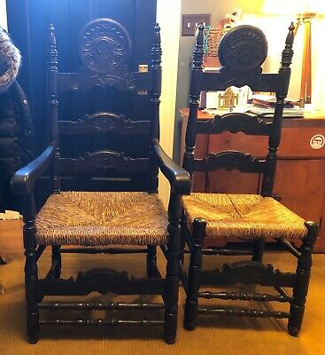 Set of 6, Spanish style baroque dining chairs