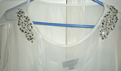 STUNNING RM Richards WHITE COCKTAIL PARTY WEDDING DRESS SEQUENCE ACCENTS SZ 16