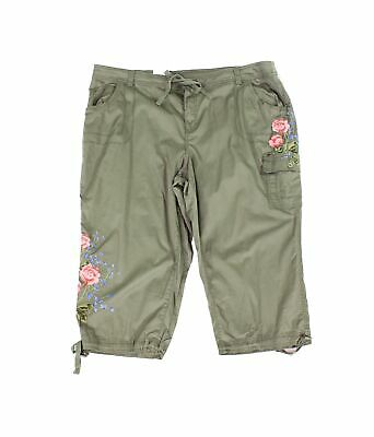 Style & Co. Womens Pants Green Size 24W Plus Embroidered Capris Stretch $59 239