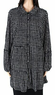 Style & Co Womens Top Black Size 2X Plus Windowpane Tiered Button-Down $56 155