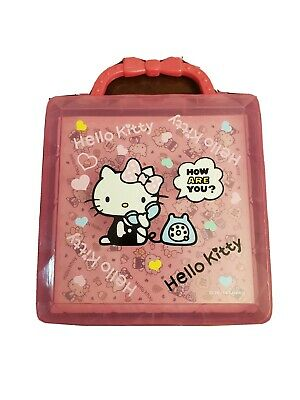 2014 Sanrio Hello Kitty Clear Pink Plastic Stationary Holder with Stationary