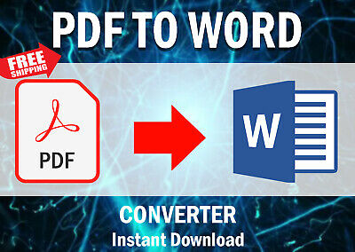 Pro Pdf To Word Converter Text -All Windows Xp, Vista, 7, 8, 10 Instant Download