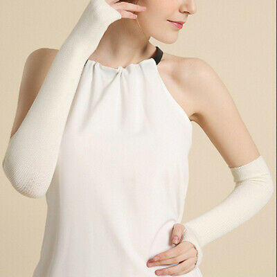 Women Knitted Arm Warmers Long Winter Warm Soft Fingerless Gloves Mittens