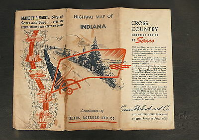 1941 Indiana road  map Sears Roebuck and Co.   gas oil