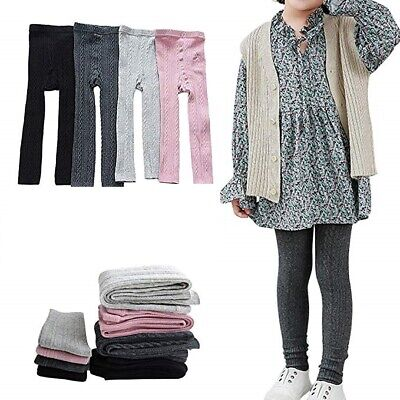 2 Pack Girls Cable Knit Footless Tights 3-14 Years SCHOOL WARM  PANTS PE DANCE