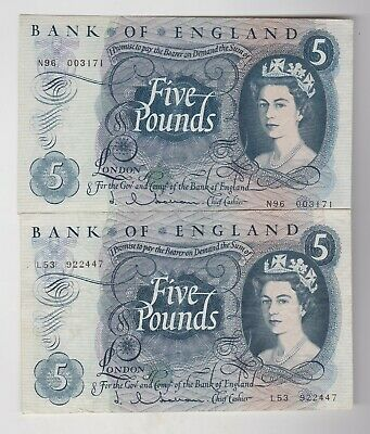 Two B297 J.q.hollom L53 & N96 Five Pound 1963 Notes In Extremely Fine Condition