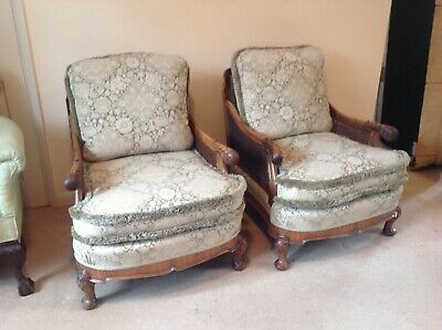 Pair Of Stunning Walnut Framed Bergere Chairs