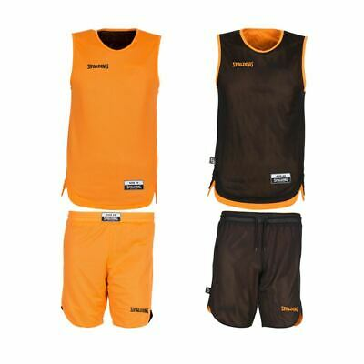 Spalding Doubleface Kids Basketball Réversible Jersey /& Shorts-Orange//Noir