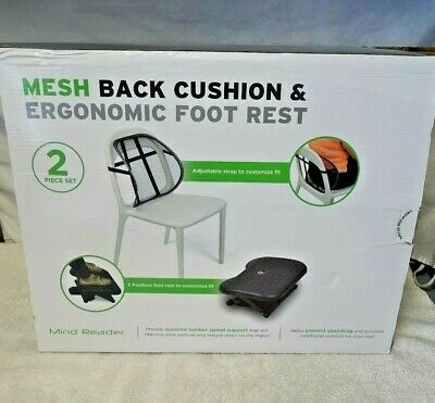 Mesh Back Cushion & Ergonomic Foot Rest In Box