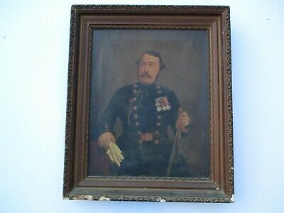 Oil Painting Antique 19Th Century Icon Military Officer Historic Portrait Old