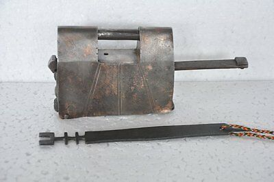 Old Iron Handcrafted Solid Heavy Strip System Padlock , Rich Patina