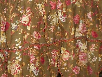 Stunning Antique French Floral Cotton Large Window Bed Pelmet ~ Brown Red Pink