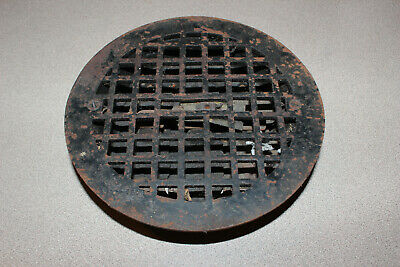 """Antique Cast Iron Round 8 1/4"""" Heating Vent Grate With Louvers"""