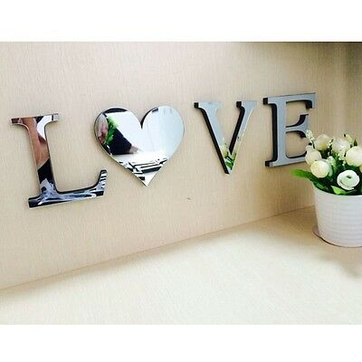 4Letter Love Mirror Tiles Wall Sticker Self Adhesive Stick On Decals Home Decor