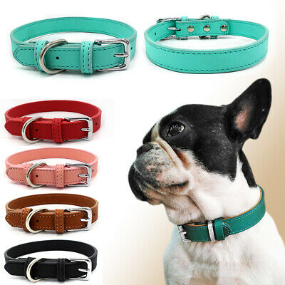 Dog Cat Collar Adjustable Small Pet Puppy Multi-color Leather Collars Decors USA