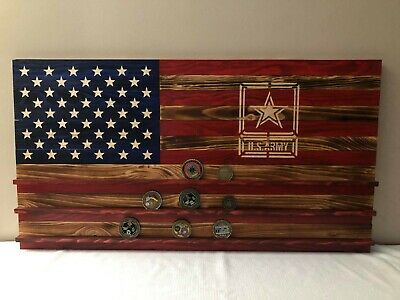 Rustic Wooden American Flag with Abrams Tank silhouette.