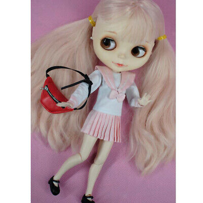 Dolls Accessory PU Leather Fanny Pack Adjustable Belt Bags for 1/3 Dolls Red