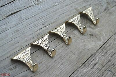 Set of 5 solid brass antique style acanthus picture rail hooks hook PRH1