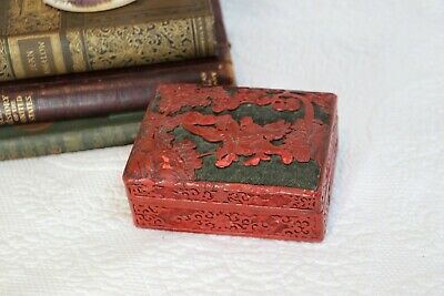 Vintage Chinese Red Cinnabar Lacquer Trinket Box Hand Carved Warrior Jewelry Box