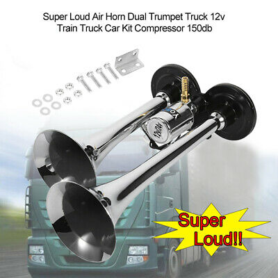 Super Loud Air Horn Dual Trumpet 12v Train Truck Car Lorry Kit Compressor 150db