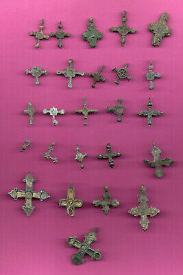 Russia Viking Tyme ca 11 th 1050 lot of 25 Bronze Cross Demaged! 686