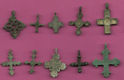 Lot of 10 Russia Bronze Ortodox Cross ca 1050 11-12th Viking Byzantine 688