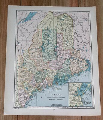 1928 Original Vintage Map Of Maine / Portland / Verso United States