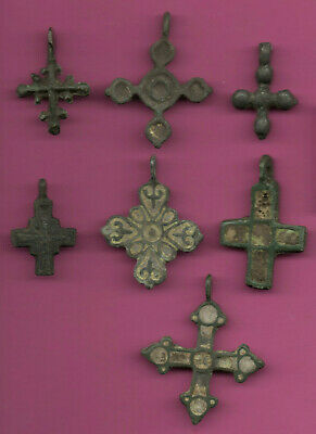 Lot of 7 Russia Bronze Ortodox Cross ca 1050 11-12th Viking Byzantine 679