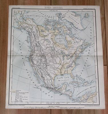 1885 Antique Physical Map Of North America Canada United States Caribbean