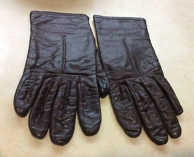 "Vtg Fownes Leather Gloves Brown  8"" Long Women's Size 7"