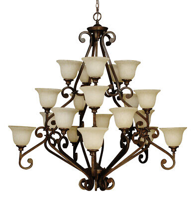 Craftmade 9152 Scroll Three Tier 20 Light Rustic Chandelier - 52 - Peruvian