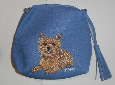 Red Norwich Terrier dog Wristlet Blue Pouch Purse for Women Hand Painted