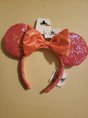Disney Parks Ariel Grotto Coral Orange Minnie Ears Headband Hat New In Hand