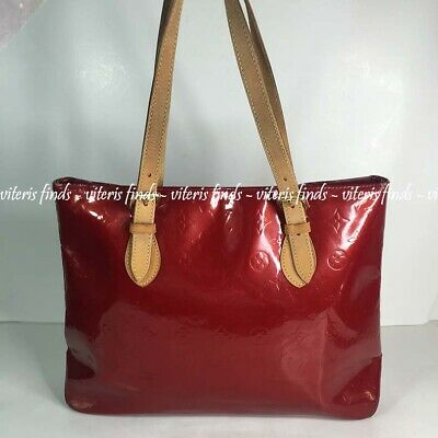 Authentic Louis Vuitton Brentwood Pomme De Amour Vernis Leather Tote Hand Bag