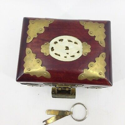 Vintage Chinese Rosewood Carved Jade Trinket Jewelry Box Etched Brass Lock Key