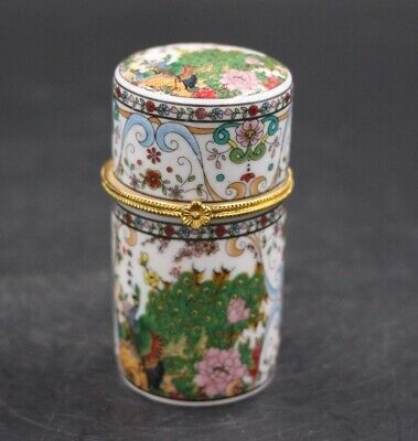 Rare Chinese Porcelain JiXiang green Peacock Bird Toothpick Holder Jewelry Box