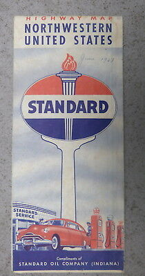 1950 Northwestern United States  road map Standard oil Indiana gas