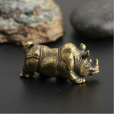 Collect Curio Chinese Small Brass Exquisite Rhinoceros Animal Statue 1pcs