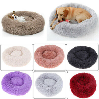 Donut Plush Pet Dog Cat Bed Fluffy Soft Warm Calming Bed Sleeping Kennel Nest BR