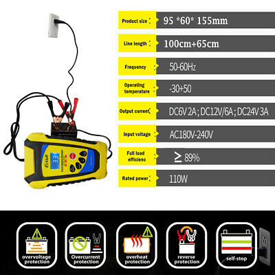 2A-6 Amp Intelligent Car Battery Charger Pulse Repair Starter 6V/12V/24V AGM/GEL
