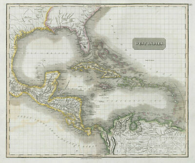 West Indies. Caribbean islands Antilles Gulf of Mexico Florida. THOMSON 1830 map