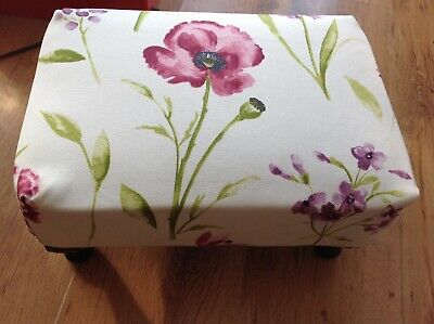 Sherborne small footstool with Queen Anne legs floral pattern W. 35cms L. 27cms