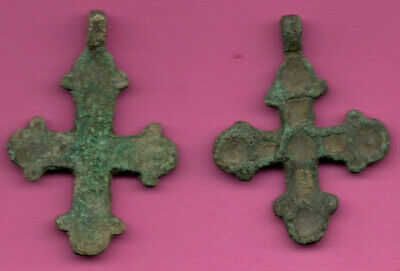 Lot of 2 Russia Enemaled Bronze Ortodox Cross 1050 11-12th Viking Byzantine 693